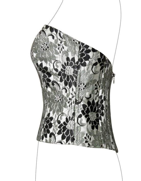 Corsetto in duchesse in seta grigio perla