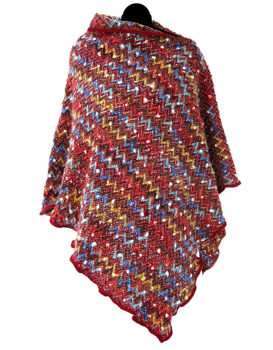 Poncho in Lana a stampa Missoni