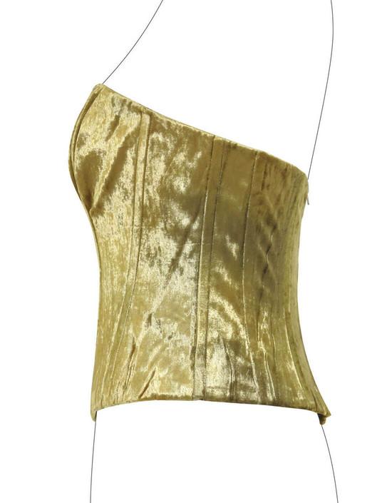 Corsetto in ciniglia di seta oro