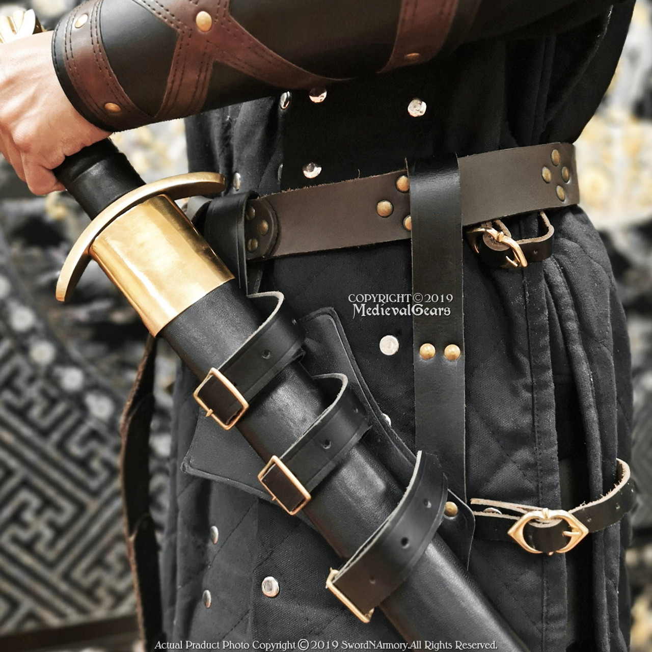Medieval Crusader Knights Templar Double Leather Large Belt Sword