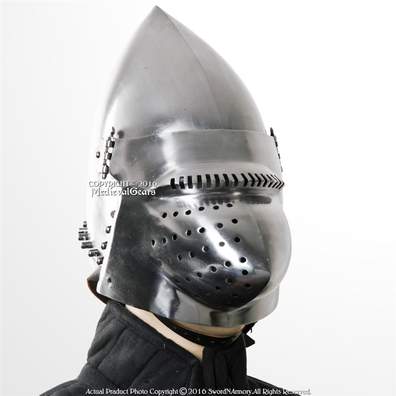 18G Medieval Functional Hounskull CLOSED Bascinet Helmet