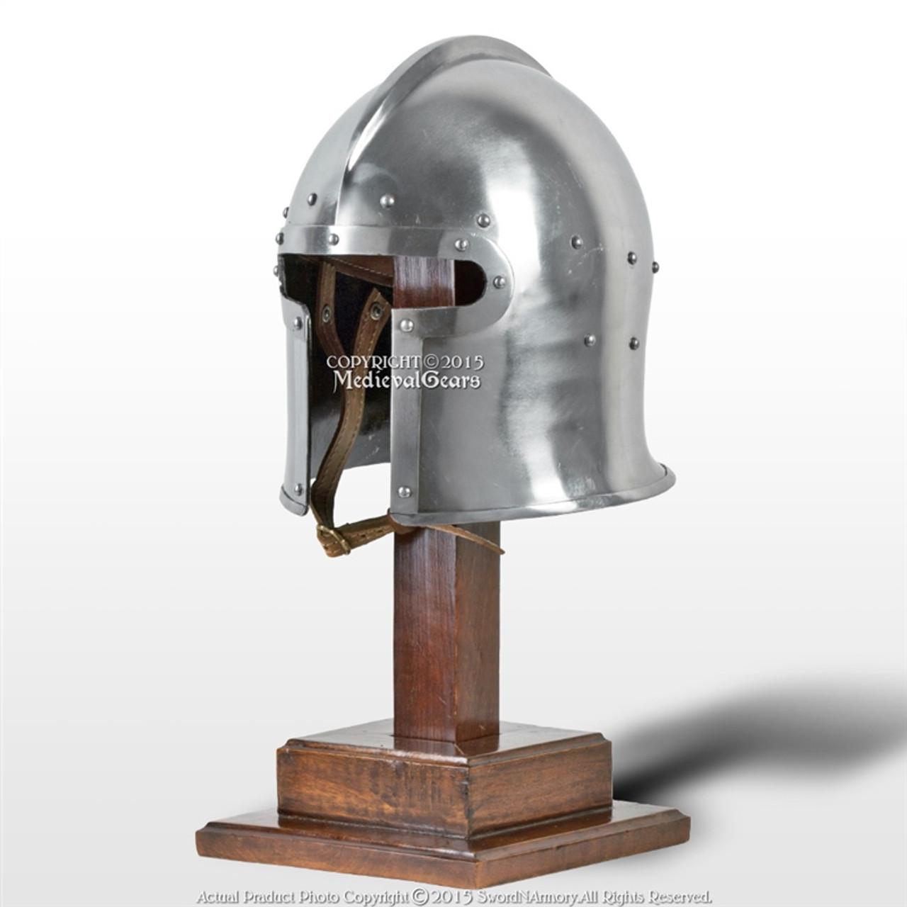 Medieval Reenactment King Arthur Helmet 18 gauge Wearable w// Liner /& Chin Strap