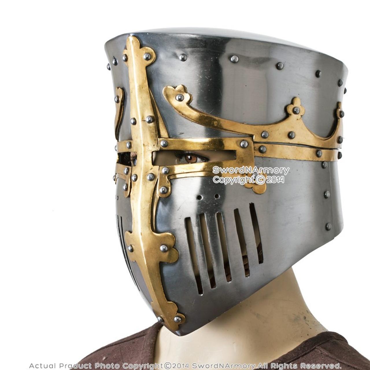 Medieval Crusader Great Helm Bucket Helmet Barrel Helmet