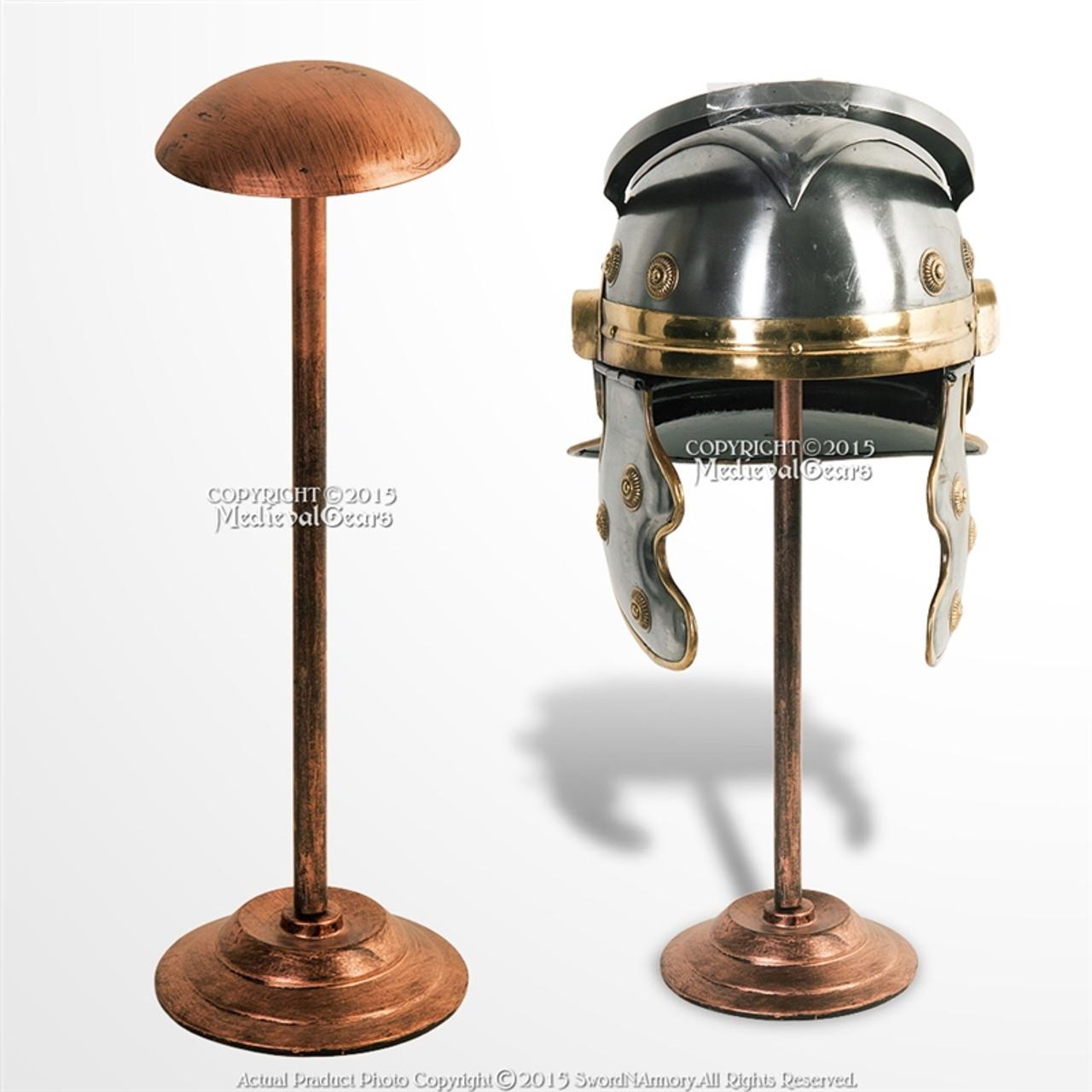 17 Tall Medieval Viking Roman Greek Iron Helmet Display Stand Copper Coated