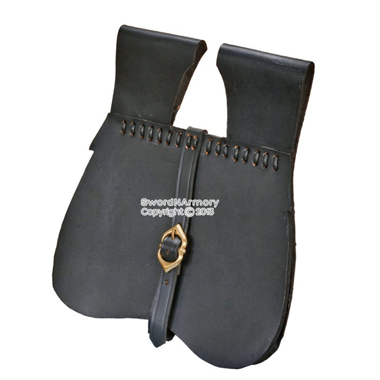 Medieval Renaissance Costume Genuine Leather Blet Pouch Sache with Brass Fitting