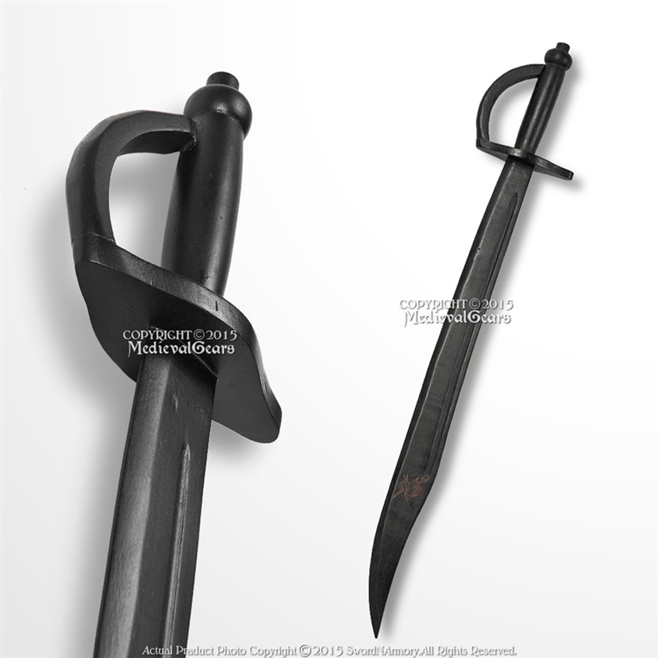 Theatre or Non Contact Training Black Wooden Pirate Cutlass Ideal For Costume