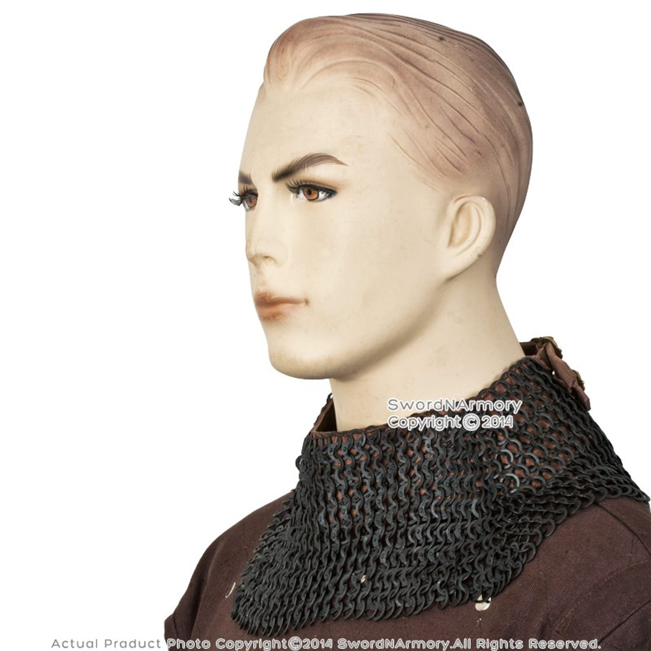 Medieval Cotton Padded Collar Chain Mail Neck Protector for SCA