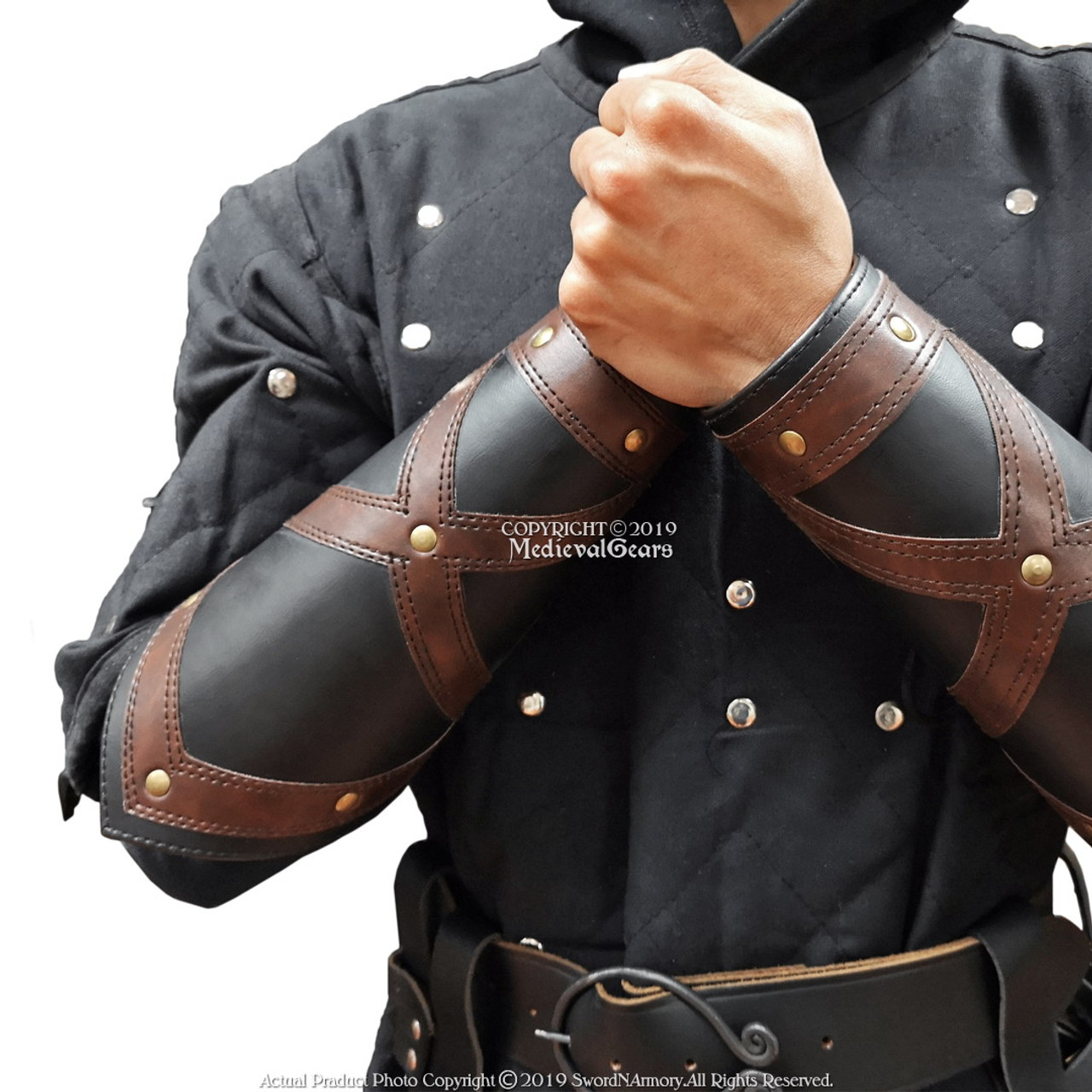 Set of 2  Medieval Black Leather Bracers Tree Archery Arm Guards Cosplay LARP