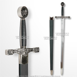 "45"" Metal Grey Color Excalibur Medieval Crusader Sword with Scabbard Reenactment"