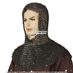 Black Medieval Chainmail Coif Head Neck Protector Round Ring Round Riveted SCA