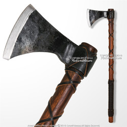 """26"""" Steel Viking Warrior Battle Axe Hatchet with Leather Wrapped Handle SCA LARP"""