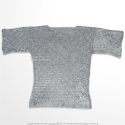Medieval Aluminum Chainmail Shirt Haubergeon Flat Ring Round Riveted LARP M Size