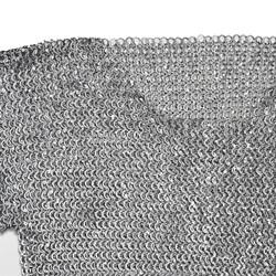 Aluminum M Size Medieval Hauberk Chainmail Round Ring Round Riveted LARP Movie