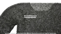 Black Large Size Hauberk Round Ring Riveted Medieval Chainmail Shirt SCA LARP