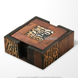 African Stylish Hand Crafted 4 Pcs Burnt Cow Horn Drink Coaster Set  Wooden Box
