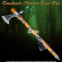 Native American Indian Warrior Tomahawk Hatchet Axe Peace Pipe Tobacco
