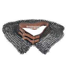 BK Large Medieval Chainmail Collar Flat Ring Wedge Riveted w/ Leather Strap SCA