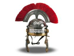 Wearable Roman Imperial Itallic Officer Helmet w/ Red Crest & Liner LARP SCA