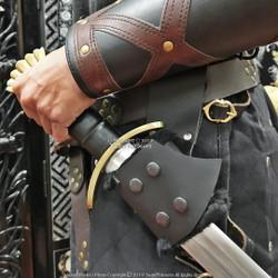 Black Medieval Genuine Leather Right Handed Sword Frog Holder Renaissance LARP
