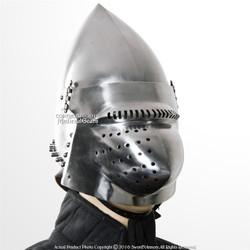Functional 16G Hound Skull Pig Face Bascinet Jousting Medieval Helmet WMA Armor