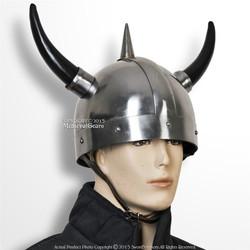 Medieval Norse Viking Warrior Helmet with Horns Spike 20G Steel LARP Cosplay