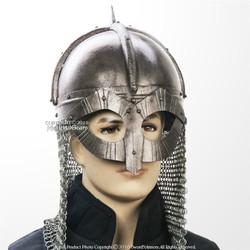 Gjermundbu 16G Steel Functional Viking Helmet with Chainmail Coif  Leather Liner