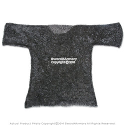 Medium Functional Medieval Chainmail Shirt Haubergeon Flat Ring Wedge Rivet SCA