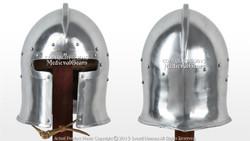 Functional Medieval Flared Barbute Fighting Combat Helmet 16G Steel SCA LARP