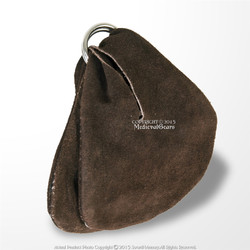 Medieval Renaissance Double Compartment Ring Genuine Suede Leather Coin Bag Brown