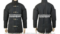 Black Gambeson Type I Medieval Padded Armour Coat SCA WMA Arming Jacket Medium M