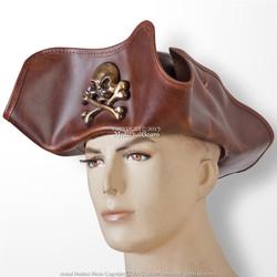 Antique Look Leather Pirate Tricorne TriCorner Hat Renaissance Costume LG Size