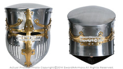 Functional Medieval Great Bucket Barrel Helm Pot Helmet w/ Brass 16G Steel SCA