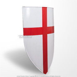 "28"" Red Cross Knight Templar Cross Crusader Heater Shield 18G Steel LARP w/ Grip"