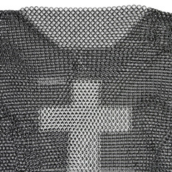 Medium Size Medieval Chainmail Shirt Steel Butted Half Sleeve with Templar Cross