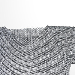 Medieval Aluminum Chainmail Shirt Haubergeon Flat Ring Round Riveted LARP L Size