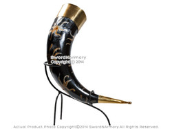 Deluxe Medieval Drinking Horn Viking Mug w/ Brass Fitting and Iron Display Stand
