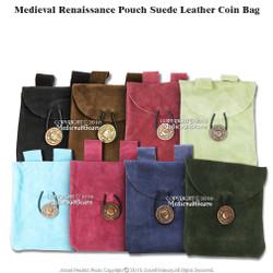 Black Medieval Renaissance Fair Costume Suede Leather Pouch Satchel Bag LARP SCA