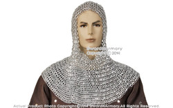 Medieva Aluminum Chainmail Coif w/ Aventail Round Ring Round Riveted L Size LARP