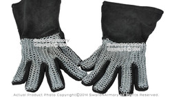 Large Size Leather Gloves with Chainmail Medieval Armour Dressing Costume LARP