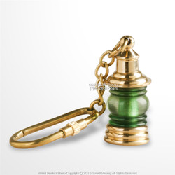 Vintage Style Handmade Brass Miniature Nautical Green Ship Lantern Keychain