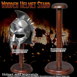 Armor Brown Solid Wooden Stand For Helmet