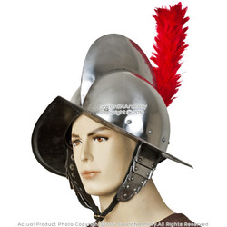 Spanish Comb Morion Helmet 20G Steel w/ Red Feather Plume Renaissance Fair LARP