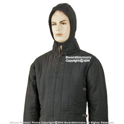 Black XL Medieval Gambeson Cloth Type 3 Padded Armour LARP SCA WMA Arming Jacket