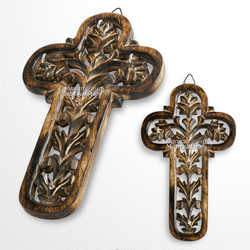Wooden Burnt Antique Medieval Knight Cross Cutout Five Keychain Holder Rack Plaq