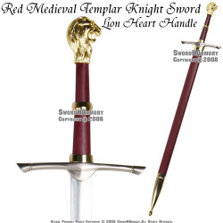 Red Medieval Templar Knight Crusader Princes Peter Sword with Lion Head Handle