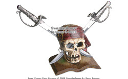 Caribbean Pirate Skull With Two Cutlass Swords and Stand