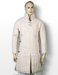 Ecru XL Medieval Gambeson Cloth Type 3 Padded Armour LARP SCA WMA Arming Jacket