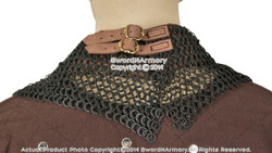 Medieval Aventail Chainmail Round Ring Round Riveted w/ Leather Strap 18G Steel