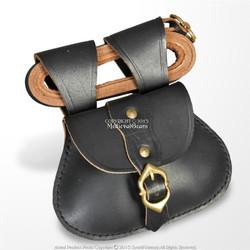 "Medieval Genuine Leather Bag Sachet Viking Carry Pouch w/52"" Waist Belt SCA LARP"