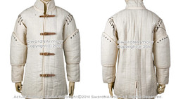 Ecru XL Size Gambeson Type I Medieval Padded Armour Coat SCA WMA Arming Jacket